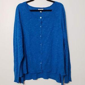 Eileen Fisher Woman Blue Linen Blend Cardigan, 3X